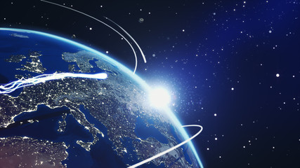 Closeup planet earth from space with energy white streaks. Some elements of this image furnished by NASA. 3d illustration.