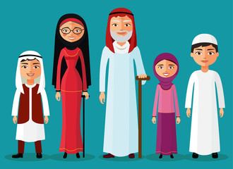 Arab grandparents with grandchildren together in a flat style vector illustration.