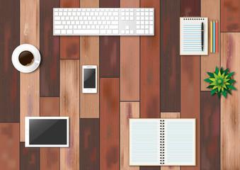 Fournitures de bureau sur plancher en bois