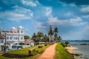 White Lighthouse on the shore in Galle Sri Lanka
