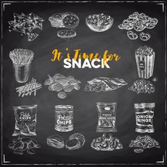 Vector hand drawn Illustration with retro snack staff.