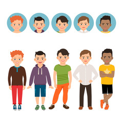 Teenage boy with avatar icons set