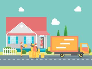 Cartoon Delivery Service Concept. Vector