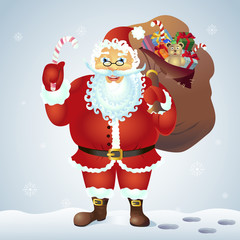 Santa Claus holding a candy cane  and with a bag of gifts in front winter background vector illustration