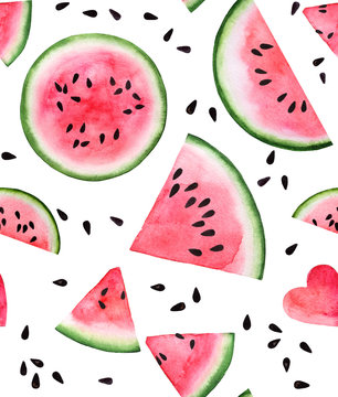 red pink watermelon slice and seed seamless watercolor background for web, paper, texture,textile, design, logo,label, tag, sale, clothes and brand package. isolated on white hand draw illustration