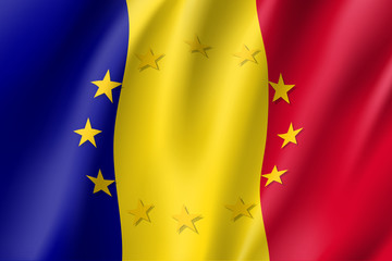 Romania national flag with a circle of European Union twelve gold stars, ideals of unity with EU, member since 1 January 2007. Realistic vector style illustration
