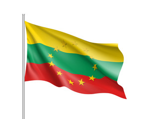 Lithuania national waving flag with a circle of European Union twelve gold stars, ideals of unity with EU, member since1 May 2004. Realistic vector illustration