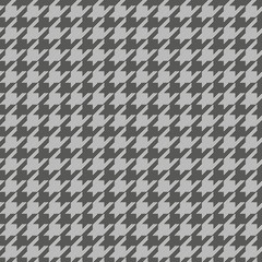 Houndstooth dark grey and white classical seamless pattern, small elements.