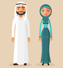 Arab people character traditional arab couple vector flat illustration illustration