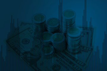 Double exposure of graph and rows of coins with calculator for finance and business concept