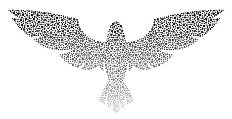 Wingspan of eagle dots on a white background