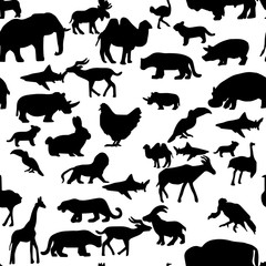 seamless pattern farm wildlife animals silhouette - vector illustration hand drawn with black lines, isolated on white background