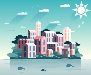 Paper design cityscape island with sun, clouds and whales