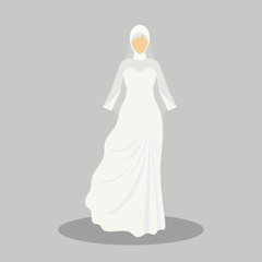 islamic wedding dress for the muslim bride in modern styles. vector illustration