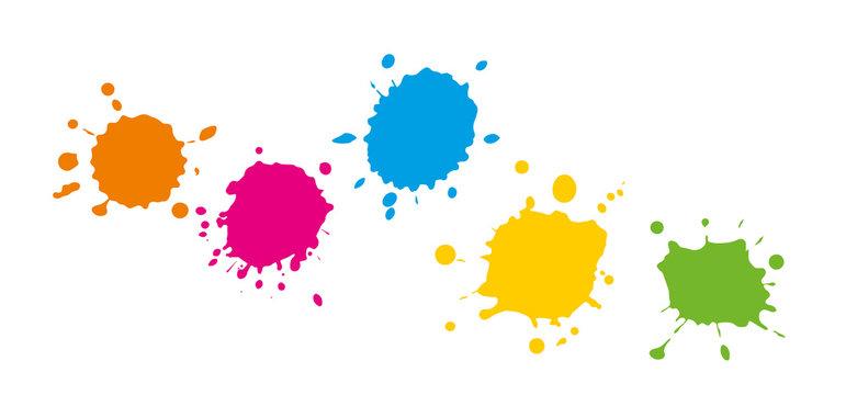 Bunte Farbkleckse - Farbspritzer mit Farbe