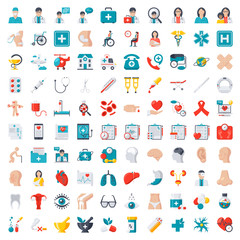 Medical icons set, vector illustration in flat style