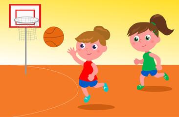 Two cartoon girls playing basketball vector
