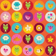 nature circles pattern cute frogs flowers clouds