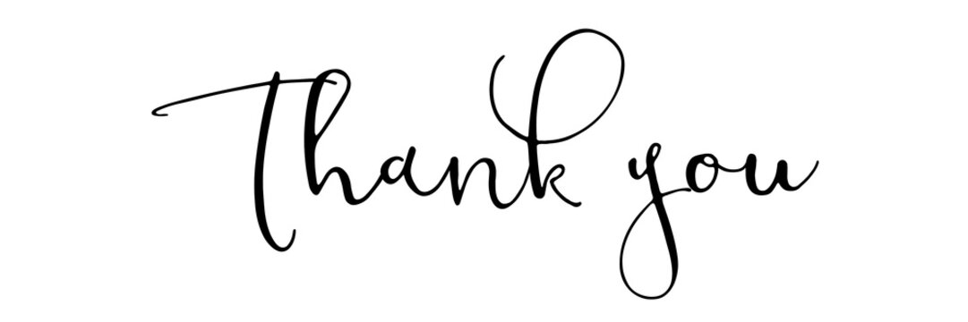 Thank you - black typography on white backround