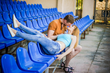 Couple in love at the stadium