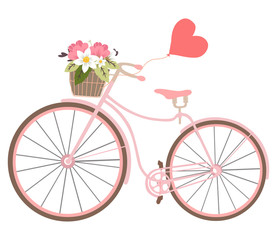 Vintage wedding bicycle with heart baloon and flowers Valentines illustration isolated on background.