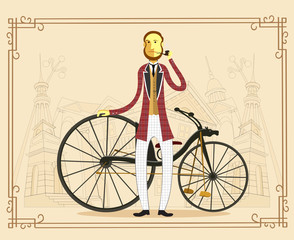 Englishman aristocrat on retro vintage old bike on old city background vector illustration