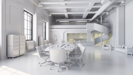 White office space, meeting room table with kitchen area