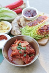 Kimchi of korean food traditional is delicious.