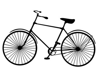 Retro old victorian bicycle silhouette isolated on white background vector illustration