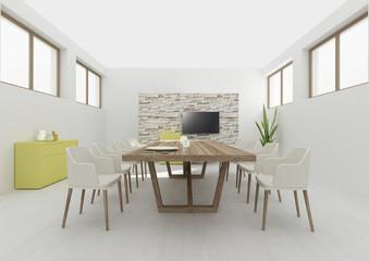 Dining room interior 3D rendering