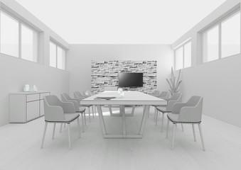 Dining room interior grid 3D rendering