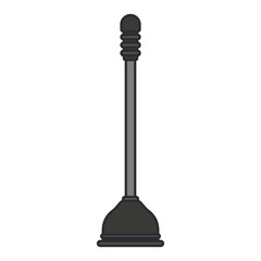 white background with color silhouette of toilet plunger icon with thin contour vector illustration