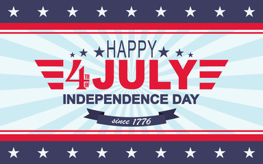 Vector Happy 4th of July background. USA Independence Day. Template for Fourth of July.