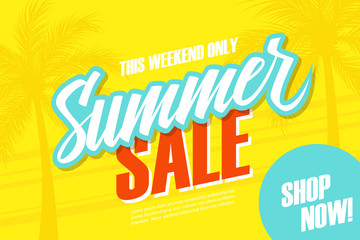 Summer Sale. This weekend special offer banner with palm trees. Shop now. Vector illustration.