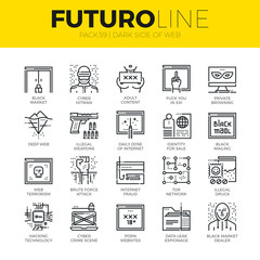 Dark Side of Web Futuro Line Icons