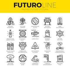 Future Dystopia Futuro Line Icons