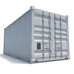 Freight shipping container isolated on white. 3D illustration