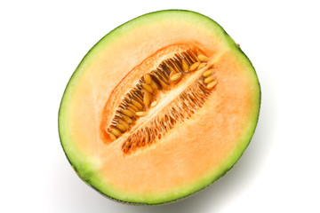 Half melon on white background