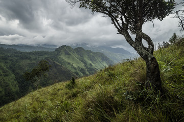 Little Adams peak in stormy weather, Ella, Sri Lanka