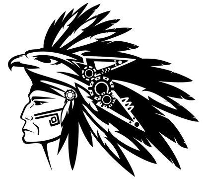aztec chief warrior black and white vector design