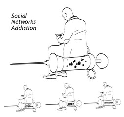Illustration about human and sociaty Social Networks Addiction, need of repostrs and likes. On Illustration sitting on syringe male