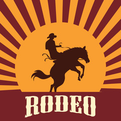 rodeo poster with cowboy silhouette riding on wild horse and bull. vector illustration
