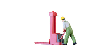 Miniature worker people with lifting tools isolated with clipping paht on white background. Elegant Design with copy space for placement your text, mock up for industrial and logistic concept.