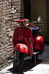 Aluminium Prints Scooter Red Vespa motorcycle in Italy