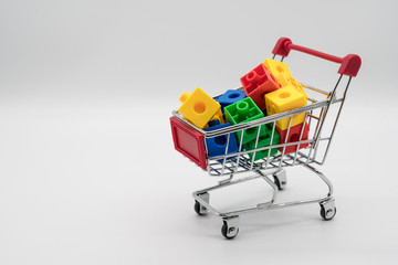 Shopping cart with colorful 3d puzzle