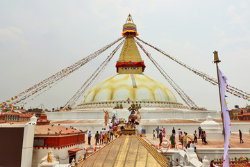 Boudhanath, the colossal Buddhist stupa in Kathmandu, Nepal is of the great importance for the worldwide Buddhist community, topped with the Buddha's eyes of wisdom.