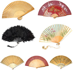 A Vector Collection of Vintage Hand Fans
