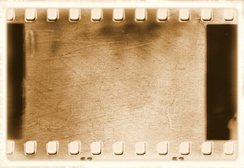 Vintage film strip frame in sepia tones.