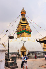 Swayambhunath temple, the hilltop Buddhist stupa is one of the most striking icons of Kathmandu, Nepal also known as the Monkey Temple.