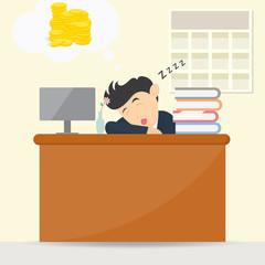 male businessman sleeping at work and dream get money cartoon vector illustration